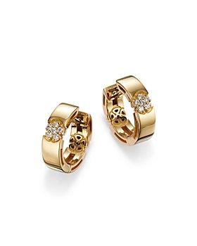 Roberto Coin - 18K Yellow Gold Diamond Daisy Huggie Hoop Earrings - 100% Exclusive