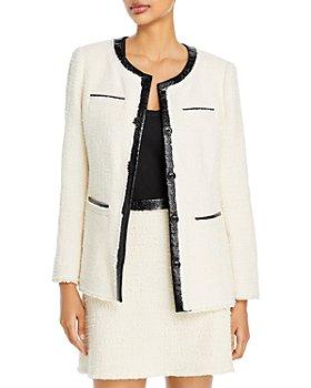 Rebecca Taylor - Faux Leather Trim Tweed Jacket