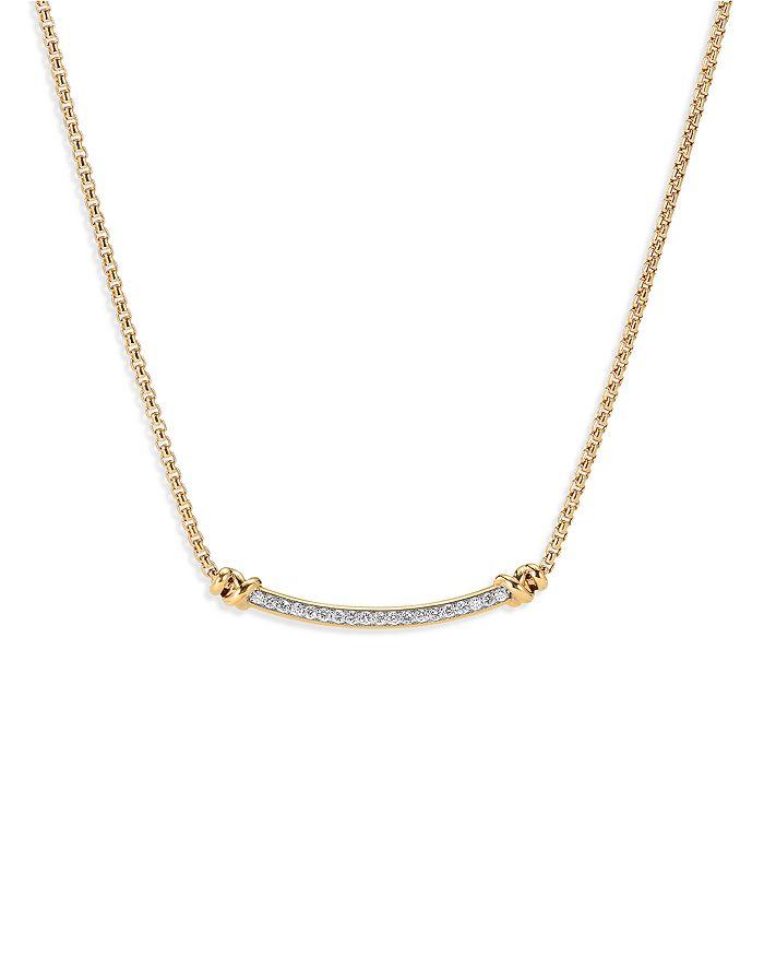 "David Yurman - Petite Helena Station Necklace in 18K Yellow Gold with Diamonds, 17"""