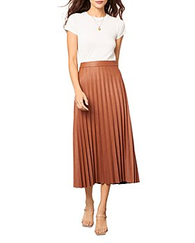 cupcakes and cashmere - Trinity Pleated Vegan Leather Midi Skirt