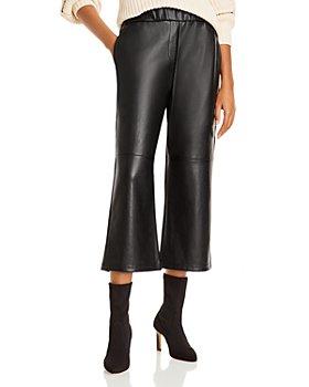 AQUA - Faux Leather Cropped Flare Pants