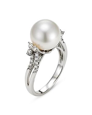 Mastolini 18K White Gold Cultured Freshwater Pearl & Diamond Ring