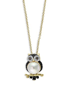 """Bloomingdale's - Freshwater Pearl & Multicolor Diamond Owl Pendant Necklace in 14K Yellow Gold, 18"""" - 100% Exclusive"""