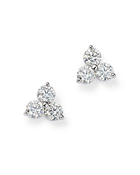 Roberto Coin - 18K White Gold Three Stone Cluster Diamond Stud Earrings