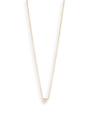 Zoe Chicco 14K Yellow Gold Itty Bitty Diamond Heart Pendant Necklace, 16