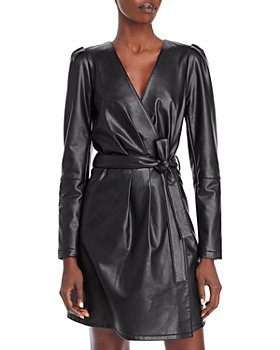 AQUA - Faux Leather Belted Wrap Dress - 100% Exclusive