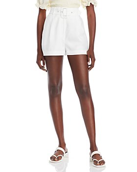 WAYF - Titus Pinstriped Belted Shorts