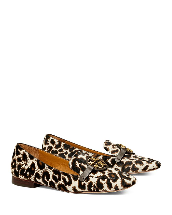 Tory Burch - Women's Miller Logo Embellished Leopard Print Calf Hair Leather Loafers