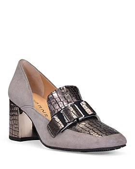 Donald Pliner - Women's Caress Metallic Embossed Leather & Suede Dress Loafers