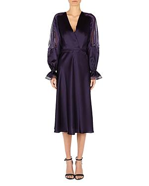 Alberta Ferretti Silk Lace Inset Midi Dress-Women