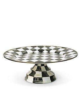 Mackenzie-Childs - Courtly Check Enamel Pedestal Platter - Large