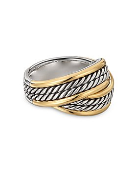 David Yurman - Sterling Silver DY Origami Ring with 18K Yellow Gold