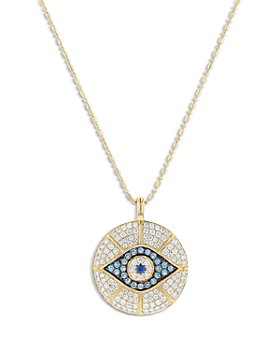 "Bloomingdale's - Multi Gemstone & Diamond Evil Eye Pendant Necklace in 14K Yellow Gold, 18"" - 100% Exclusive"