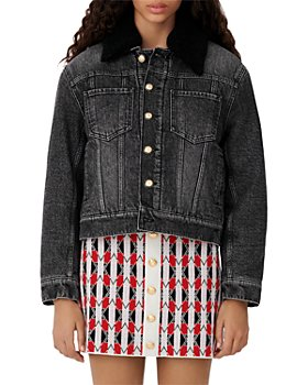 Maje - Biche Denim Faux Fur Jacket