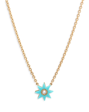 18K Yellow Gold Galaxia Gray Diamond & Turquoise Twinkle Pendant Necklace