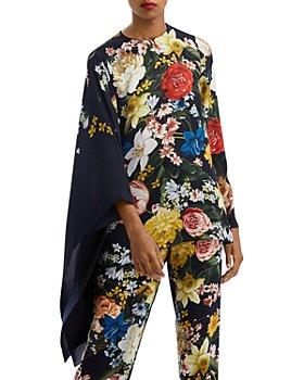 Oscar de la Renta - Floral Print Cape Sleeve Silk Blouse