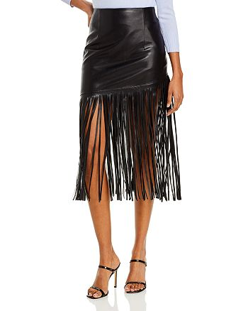 BAGATELLE.NYC - Fringed Faux Leather Midi Skirt