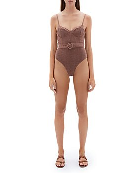 Jonathan Simkhai - Noa Metallic Underwire Belted One Piece Swimsuit