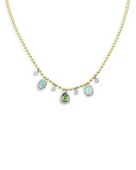 Meira T - Diamond & Opal Drop Spot Chain Necklace in 14K Yellow Gold, 0.28 ct. t.w.