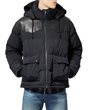 The Kooples - Leather Yoked Puffer Jacket
