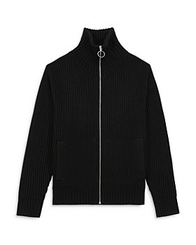 The Kooples - Ribbed Knit Slim Fit Full Zip Funnel Neck Cardigan