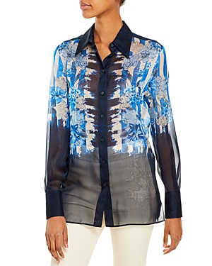 Alberta Ferretti Striped and Floral Print Shirt-Women
