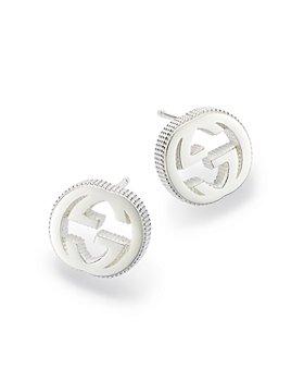 Gucci - Sterling Silver Interlocking G Stud Earrings