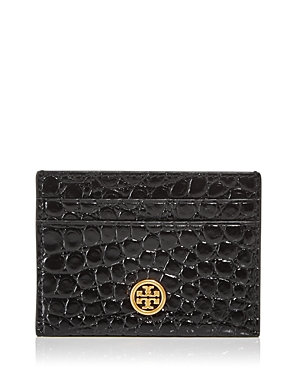 Tory Burch Robinson Croc Embossed Leather Card Case-Handbags