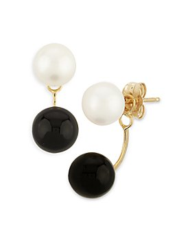 Bloomingdale's - Onyx & Cultured Freshwater Pearl Front-to-Back Drop Earrings in 14K Yellow Gold - 100% Exclusive