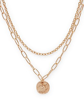 "AQUA - Two-Layer Coin Pendant Necklace, 19"" - 100% Exclusive"