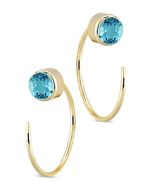 Bloomingdale's Blue Topaz Stud and Front Back Hoop Earrings in 14K Yellow Gold - 100% Exclusive
