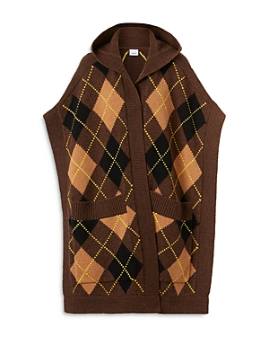 Burberry CARLA ARGYLE WOOL & CASHMERE HOODED CAPE