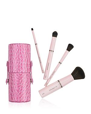 Luxury Vegan 4-Brush Travel Set in Pink