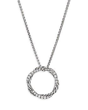 "David Yurman - Sterling Silver Petite Infinity Pendant Necklace with Diamonds, 17"""