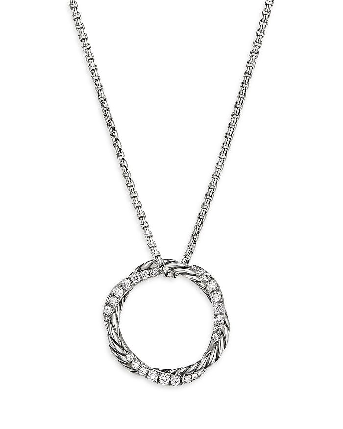 David Yurman - Sterling Silver Petite Infinity Pendant Necklace with Diamonds, 17""