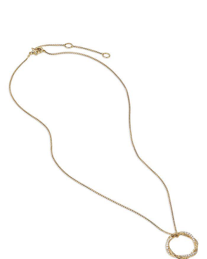 "David Yurman - 18K Yellow Gold Petite Infinity Pendant Necklace with Diamonds, 17"""