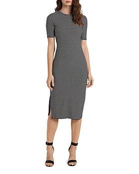 VINCE CAMUTO - Cap Sleeve Mini Striped Knit Dress