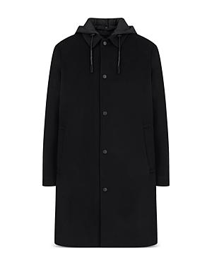 Hooded Mixed Media Trench Coat