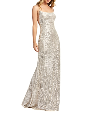 Mac Duggal Lace-Up Sequin Gown-Women