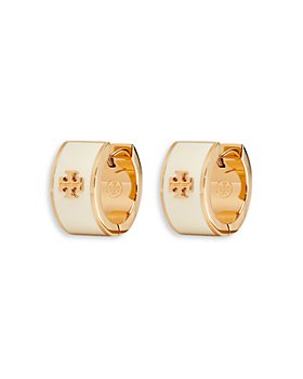 Tory Burch - Kira Logo Huggie Hoop Earrings