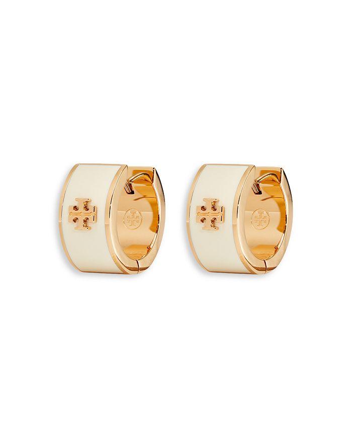 Tory Burch - Kira Logo Huggie Hoop Earrings