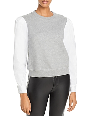 Derek Lam 10 Crosby Cottons MILTON COTTON MIXED MEDIA SWEATSHIRT