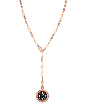 Roberto Coin - 18K Rose Gold Venetian Princess Black & White Diamond Drop Necklace, 19""