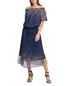 DKNY - Printed Off-the-Shoulder Dress