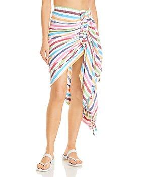 JUST BEE QUEEN - Tulum Cotton Striped Asymmetric Skirt