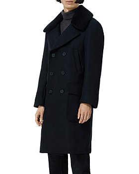 The Kooples - Wool Blend Leather Collar Coat