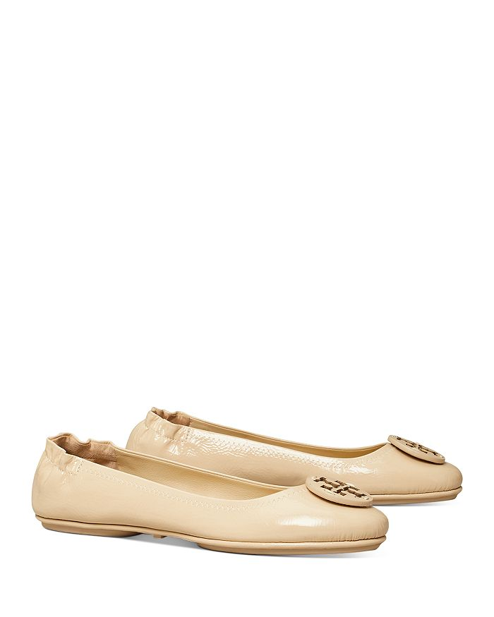 Tory Burch - Women's Minnie Double T Travel Leather Ballet Flats