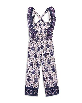 Sea - Girls' Brigitte Border Printed Smocked Jumpsuit - Little Kid