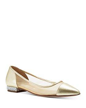 Sophia Webster - Women's Jasmine Pointed Toe Crystal Embellished Tan Mesh Flats