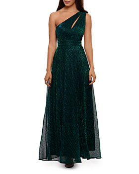 AQUA - One Shoulder Crinkled Metallic Gown - 100% Exclusive